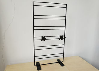 China Wire Grid Wall Metal Table Top Display Stands With Adjustable Hooks 2 Sides factory