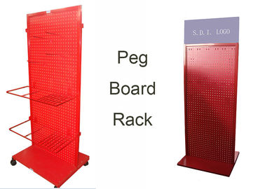 China Red Peg Board Metal Floor Display Stands With Doulbe Sides Easy Moving supplier
