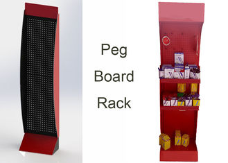 China Grocery One Pegboard Display Stand / Metal Plate Freestanding Pegboard Display supplier