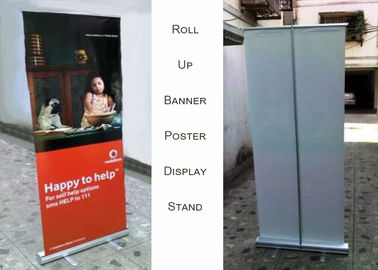 China Aluminum Roll Up Poster Display Stand For Office And Bank Printing Banner factory