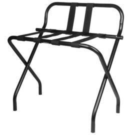 China Back Rest Hotel Style Luggage Rack / Black Hotel Luggage Stand With Feet supplier