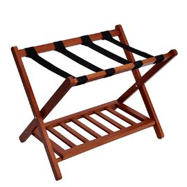 China Wood Color Display Folding Luggage Rack , OEM Hotel Metal Luggage Rack supplier