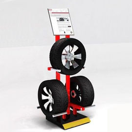 China Garage 3 Tyres Cart Wheel Display Rack / Three Sides Alloy Wheel Display Stand factory