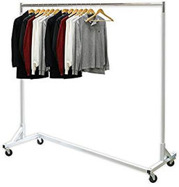 China Industrial Heavy-Duty Metal Clothing Display Rack Free Standing Z Shaped Base factory