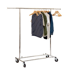 China Chrome Metal Clothing Rack On Wheels / Extendable Rods Portable Metal Clothes Rack factory
