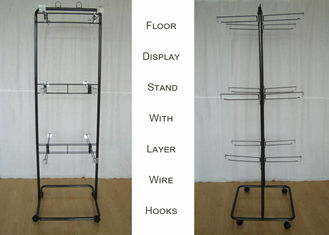 China 2 Ways Wire Metal Floor Display Stands With Casters Knock Down Structure factory