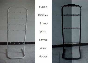 China Single Side Wire Floor Display Racks , 6 Tier Hooks Wire Grid Display Racks factory