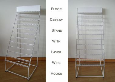 China 12 Tier Hooks Zipper Metal Floor Display Stands Single Side Tubular Frame factory