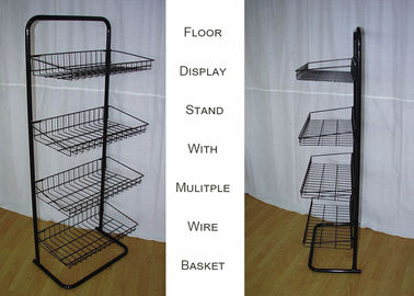 China Steel 4 Shelves Metal Floor Stand  / Single Side Wire Basket Display Stand Against Wall supplier