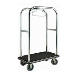 China Chrome Luggage Cart Hotel Display Stand With Poly Wood Deck Excellent Stability supplier