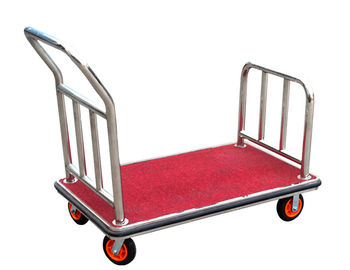China Stainless Steel Hotel Display Stand Luggage Trolley With Full Wrap Around Bumper supplier