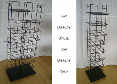 China Metal Wire Baseball Cap Display Rack / Multiple Shelves Floor Standing Hat Rack factory