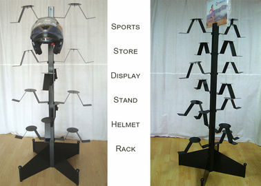 China Motorcycle Helmets Metal Clothing Display Rack For Upscal Sport Shore Shop factory