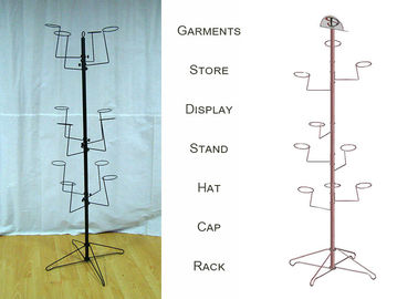 China Multiple Ball Cap Display Rack / Metal Clothing Baseball Cap Display Stand factory