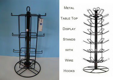 China Rotating Spinner Metal Table Top Display Stands With 12 Hooks 3 Tiers Square Shape factory