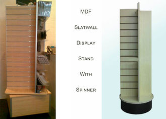 China 4 Way MDF Rotating Wooden Retail Display Stands With 4 Slat Spinner Panels factory