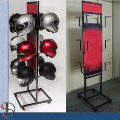 China Motorcycle Helmets Brand Metal Display Rack with graphic factory