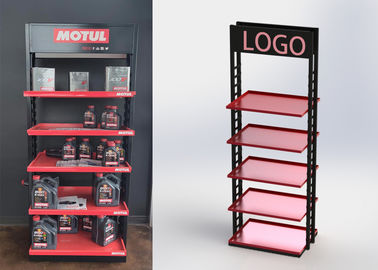 China 5 Shelves Heavy Duty Display Stand Auto Parts Display Racks For / POP Oil Bottles factory