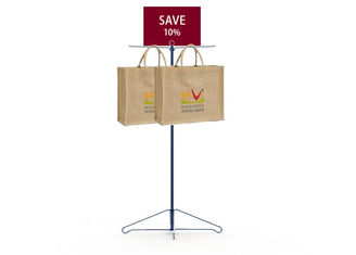 Promotion Bags Holder Metal Floor Display Stands Two Metal Hooks Longlife