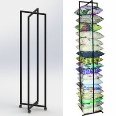 Square Cushion Folded Metal Floor Display Stands , Iron Display Rack With 4 Caster