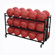China Steel Double 3 tier Basketball Storage Metal Display Rack for 30 balls factory
