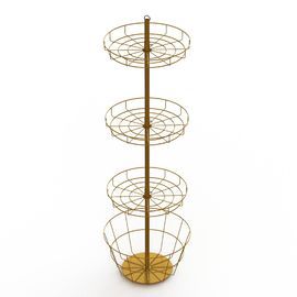 China Toy Metal Baskets Display Rack Round Wire Shelves Spinner Floor Display Stand factory