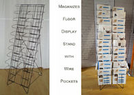 China Floding Black Metal Magazine Rack / 20 Pockets Wire Spinner Rack Display factory