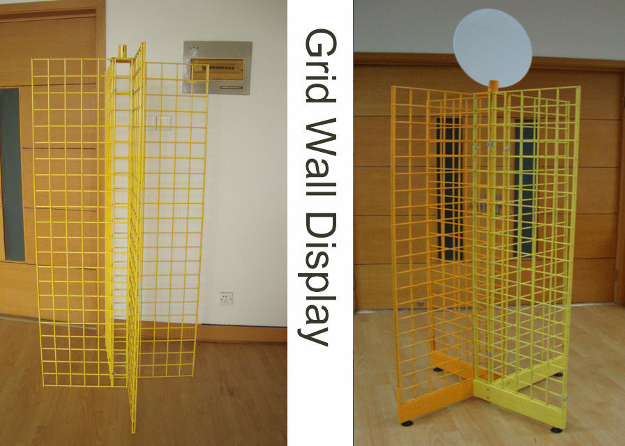 Four Way Metal Wire Retail Display Racks , X Shape Wire Grid Display Stands