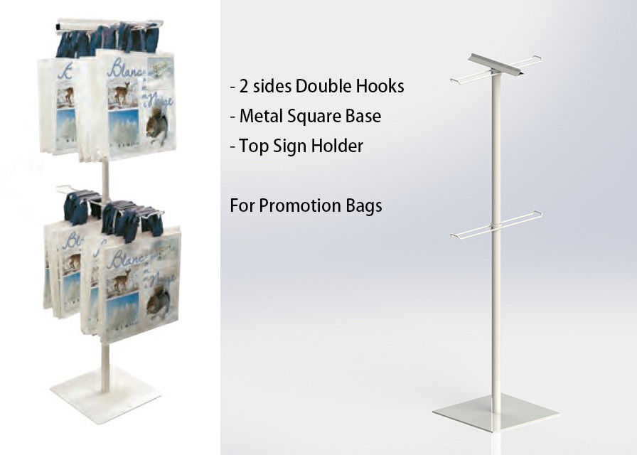 Two Sides Metal Floor Stand 2 Layers Wire Hooks Promotion Iron Display Rack supplier