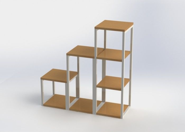 Square Shelves Storage Display Rack / Bamboo And Metal House Display Stand