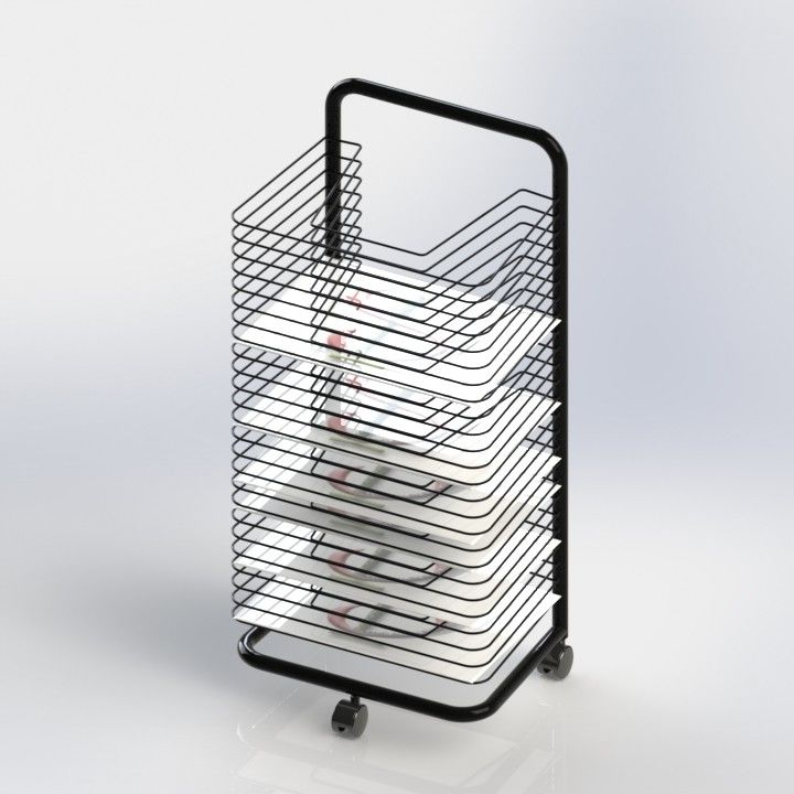 ISO Art Drying Metal Tubular Office Display Racks Wire Shelves A3 Size