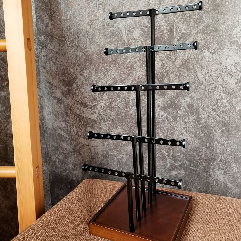 5 Rods Earring Metal Table Top Display Stands With Wooden Base For Grocery supplier