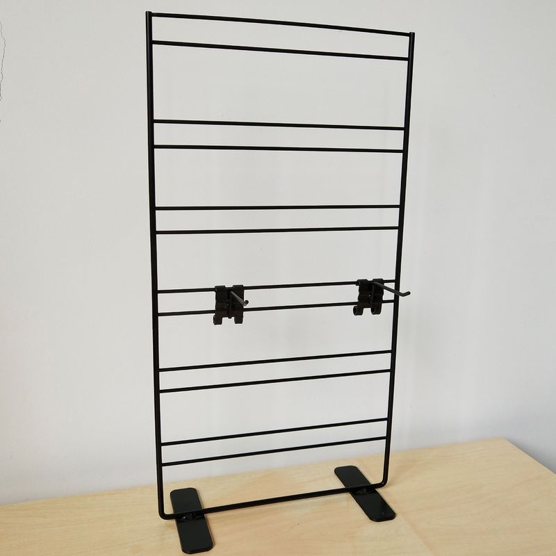 Wire Grid Wall Metal Table Top Display Stands With Adjustable Hooks 2 Sides