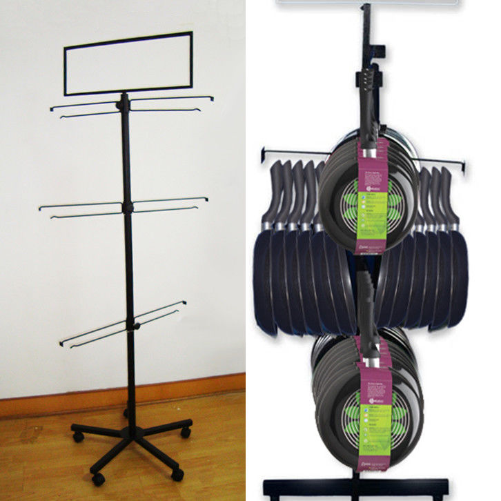 Multi Angle Hooks 3 Tire Pans Metal Floor Display Stands