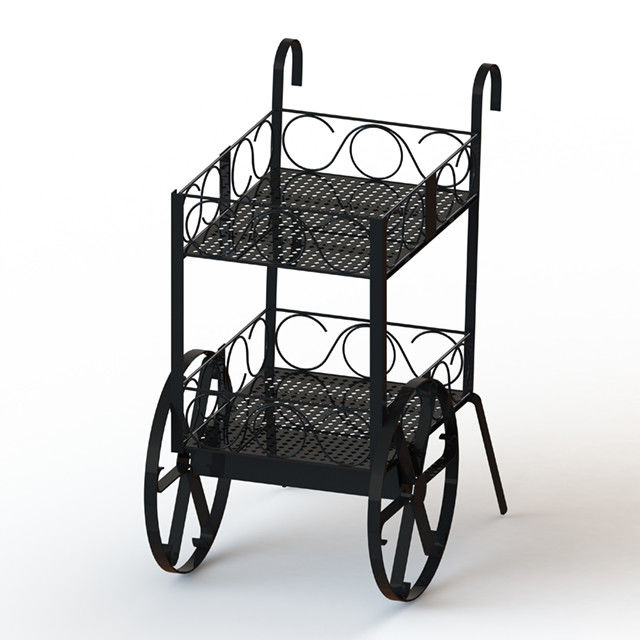 Wine Bottles Cart Food Display Stands With Metal Wire Shelves Two Layers Promotion Wine Cart
