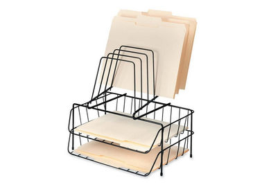 China Iron Wire Metal Magazine Stand , Two File Office Table Top Wire Display Racks distributor