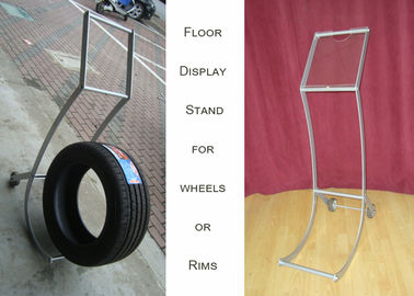 China Aluminum Alloy Wheel Display Racks , Hub Trolly Car Wheel Display Stand distributor
