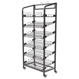 China Inro 6 Shelves Metal Wire Display Racks With Caters Adjustable Height Shelf distributor