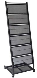 China Metal Mesh Black Office Display Racks For Literature And Magazine 6 Shelves distributor