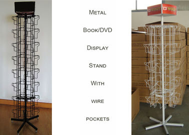 China 360 Degree Revoling Metal Book Display Stand For DVD 4 Sides Square Shape distributor