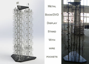 China 3 Rotating Poles Wire Book Display Rack / DVD 144 Pocket Spinner Rack Display Stand distributor